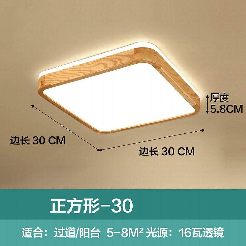 Zhouzhou666 Plafonnier LED Ultra-Mince Chambre Lampe Journal Salle De Séjour Salon Salle à Manger Lampes en Bois Massif, Lumière Neutre voitureré 16W