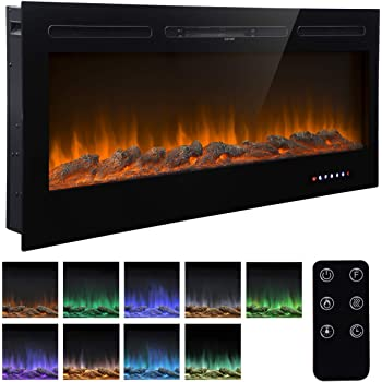 "Homedex 50"" Recessed Mounted Electric Fireplace Insert with Touch Screen Control Panel, Remote Control, 750/1500W, Black"