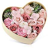 バラ型ソープフラワー ハートフラワー形状ギフトボックス 誕生日 母の日 記念日 先生の日 バレンタインデー 昇進 転居など最適としてのプレゼント…