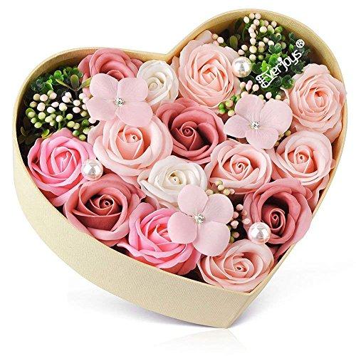 バラ型ソープフラワー ハートフラワー形状ギフトボックス 誕生日 母の日 記念日 先生の日 バレンタインデー...