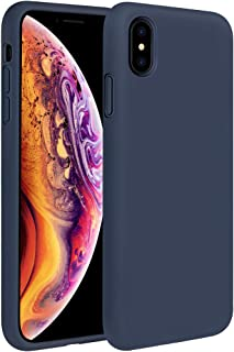Miracase Liquid Silicone Case Compatible with iPhone Xs (2018)/ iPhone X(2017) 5.8 inch, Gel Rubber Full Body Protection Shockproof Cover Case Drop Protection Case (Navy Blue)