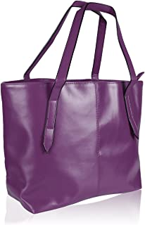 HDE Womens Leather Tote Bag Carryall Handbag Purse (Purple)