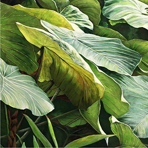 Wuyii aangepaste muurschildering behang Zuidoost-Aziatische tropische jungle bladeren grote bladeren olieverfschilderij voor woonkamer decoratie behang 350 x 250 cm.