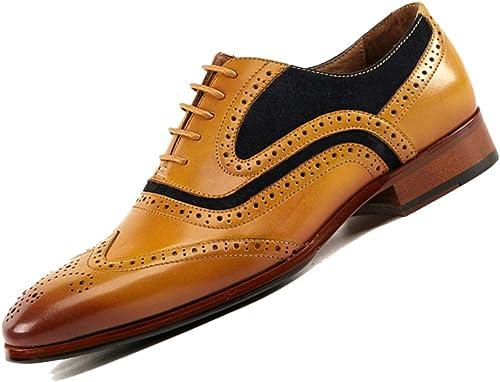 Bullock Tallado En Punta zapatos De Cuero De Los hombres De Negocios Derby rojo amarillo marrón Cuero Suave Fiesta