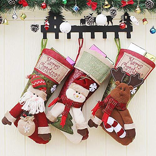 WESEASON Calze Natalizie Ricamate di Lusso Personalizzate. Sciarpa Rossa con Fiocco di Neve. Confezione da 3 Stivale Crema 46 × 27 Cm