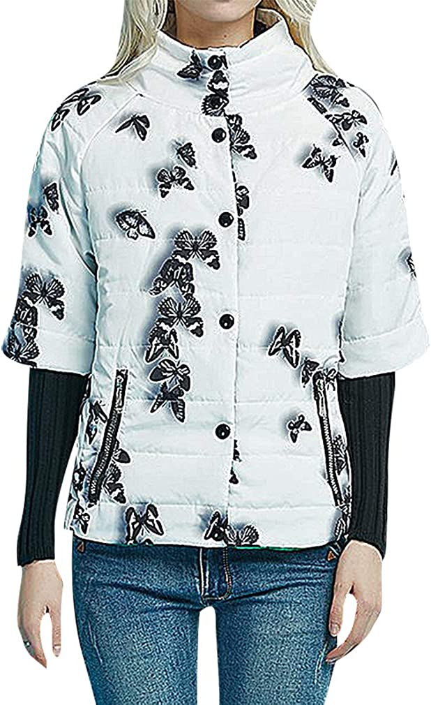 US&R Women Quilted Button Up Stand Collar Short Sleeve Butterfly Print Jacket
