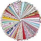 Liuliu 花柄プリント 生地 可愛い はぎれセット DIY 手芸用 布 素材 パッチワーク 給食袋、ポーチなどの作りに (25枚 20cm x 20cm)
