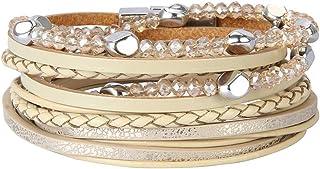 أساور جلدية الكفة البوهيمي التفاف سوار الأساور اليدوية مجوهرات للنساء ، الفتيات المراهقات ، الأم ، الأخت ، الابنة