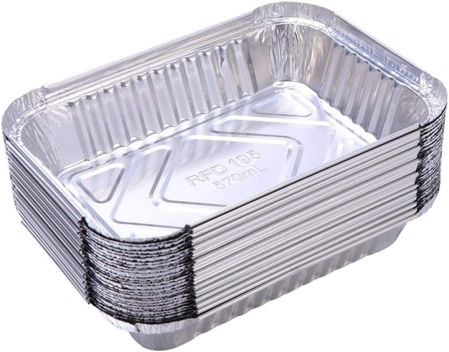 Heng 10 Pcs BBQ Drip Pan Tray Foil Aluminium Tin Liners for Grease Catch Pans Liner Replacement Liner Traps, 10pcs 10pcs
