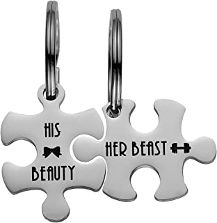 Couples Puzzle Pendant Tag KeyChain and Neckalce Personalized Valentines Anniversary Gifts