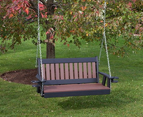 Ecommersify Inc 5FT-Cedar-Poly Lumber Mission Porch Swing with Cupholder arms Heavy Duty Everlasting PolyTuf HDPE - Made in USA - Amish Crafted