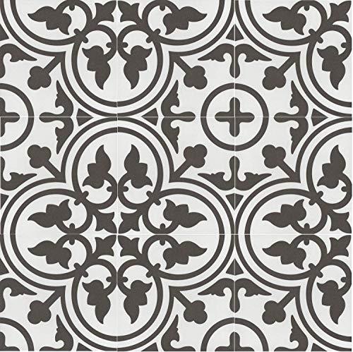 Casa Moro Mediterrane Keramikfliesen orientalisch Flavie Blanc 20x20 cm 1 qm Feinsteinzeug in Zementoptik frostsicher | Bodenfliesen Wandfliesen für schöne Küche Flur Badezimmer | FL7003