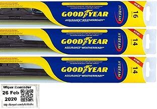 Assurance WeatherReady - Windshield Wiper Blade Bundle - 4 Items: Driver, Center & Passenger Blades & Reminder Sticker fits 2007-2014 Toyota FJ Cruiser