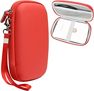Red Protective Case for HP Sprocket Plus Portable Photo Printer, Mesh Pocket for Photo Paper and Cable, Elastics Strap to Secure Device, Detachable Wrist Strap
