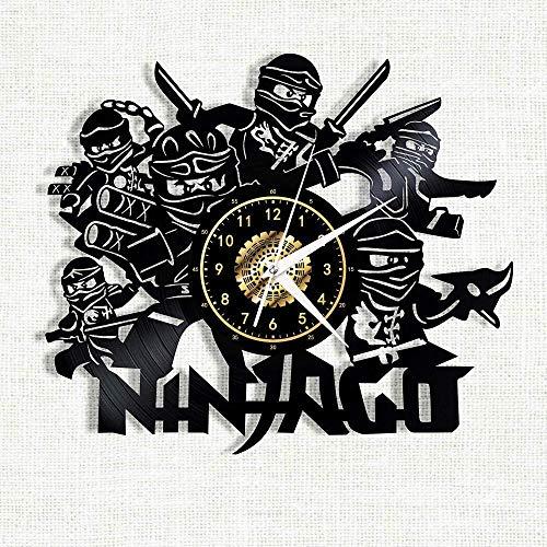 wwwff Ninjago Vinyl Record Wanduhr LED leuchtende Silhouette Record handgefertigte Schlafzimmer Dekoration Geschenk mit LED-Licht 12 Zoll-with_Led_Light