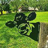 Edelrost Cow Metall, Rostiges Cow Spähen- Baumstecker edelrost deko Höhe 27.5cm x Länge 29cm - Metall Rost Gartendeko als Cow Figur- Rostdeko Metall Rost Gartenstecker,Rostoptik,Rost Deko für Garten