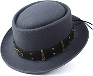 2019 Mens Womens Hats Unisex Men Women Flat Top Hat Autumn Fashion Pop Church Travel Hat Pork Pie Hat with Punk Belt Fashion Wool Fascinator Trilby Hat Pop Jazz Hat (Color : Gray, Size : 58)