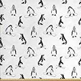 ABAKUHAUS Pinguin Stoff als Meterware, Skifahren Penguins
