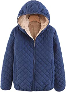 Womens Hooded Lambswool Zipper Long Sleeve Outwear Chunky Puffy Jacket