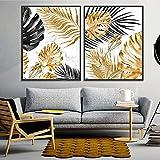 Impresión en lienzo Planta de impresión de hoja de oro nórdica Póster abstracto Pop Mármol Imágenes artísticas de pared para la decoración de la cocina de la sala de estar 2 piezas 20x30cm sin marco