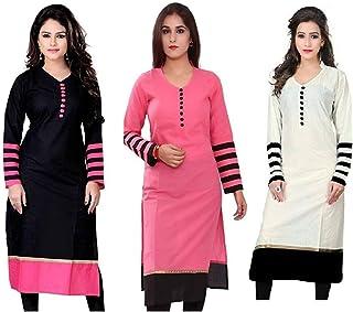 d5180f6aebd374 Pramukh Fashion Women's Cotton Semi-stitched Kurtis Combo of 3 (Multicolour)