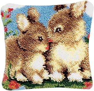 PARIO Stickpackung Kaninchen Kissenbezug 40x40 cm Kissen Hülle Latch Hook Kit Stickbild Sticken Kreuzstich Stickerei Stricken Basteln Handarbeit Stickset für Kinder und Erwachsenen