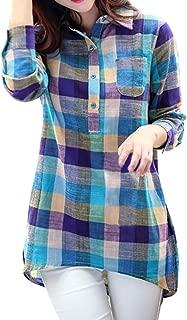 Women Lapel Shirt Casual Matching Color Long Sleeve Button Loose Plaid Shirt Blouse Pocket Top