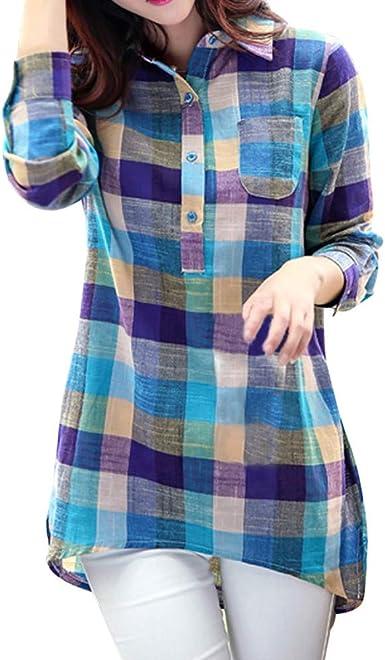 MEIbax Mujeres Camisa a Cuadros a Juego con Frente Abierta de Manga Larga con Estampado con Botón Casual de Cuadros Suelta Blusa Suéter Tipo Cardigan ...