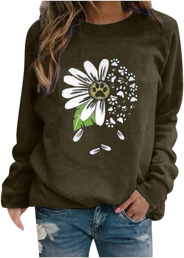 POLLYANNA KEONG Womens Long Sleeve Tops,Women's Casual Color Block Printed Crewneck Blouse Long Sleeve Loose Pullover Sweatshirt