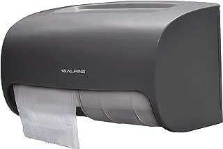 (Grey) - Alpine Industries Side-by-Side Double Roll Toilet Tissue Dispenser, Grey (Grey)