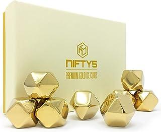 NIFTY5 Whiskey Stones Gold Edition Geschenk-Set mit 8 Edelstahl-Eiswürfeln in Diamantform, wiederverwendbare Kühlsteine inklusive Silikonspitze Zange und Ablage