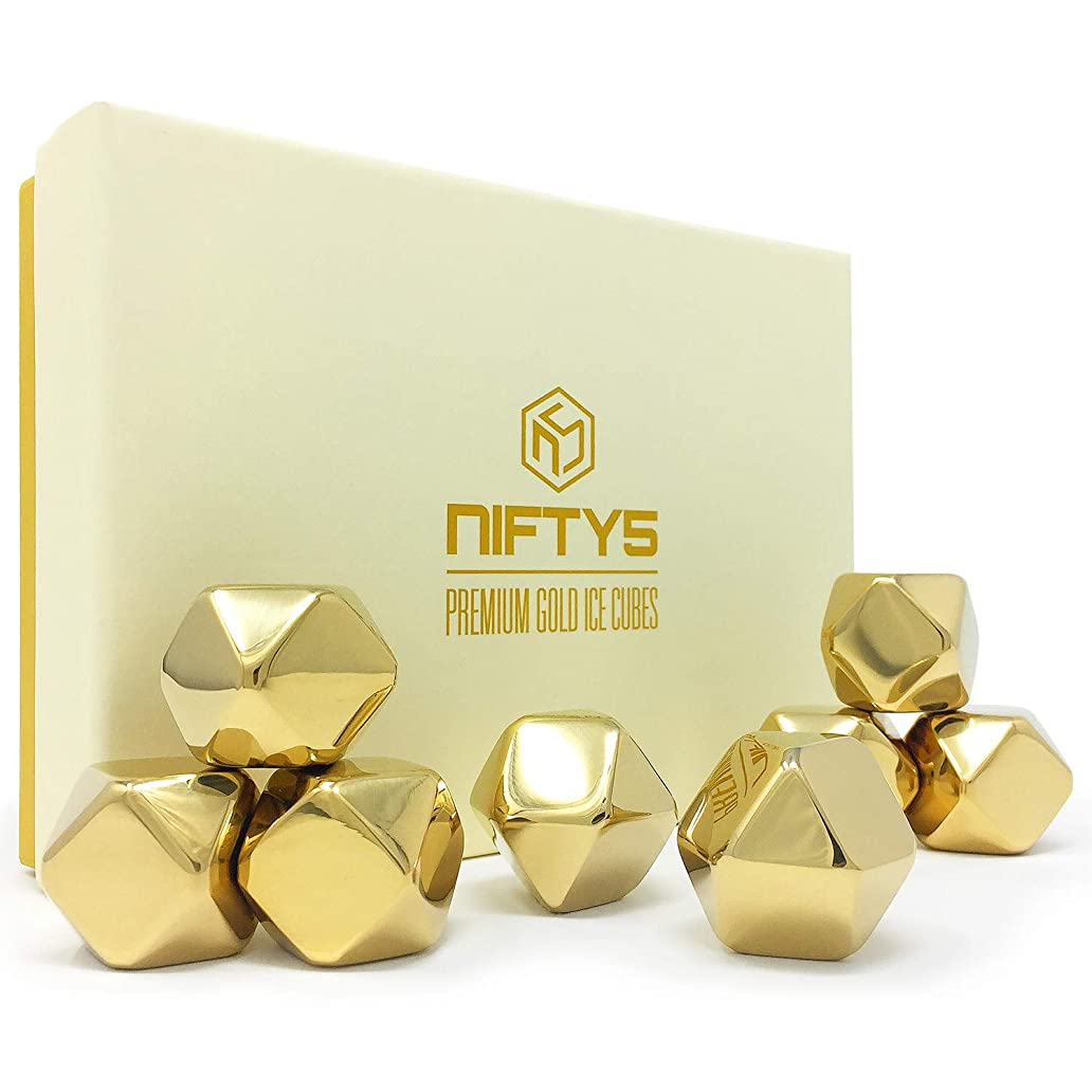 Whiskey Stones Gold Edition Gift Set of 8 Stainless Steel Diamond Shaped Ice Cubes, Reusable Chilling Rocks including Silicone Tip Tongs and Storage Tray by NIFTY5 kji7299465