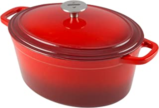 Zelancio Cookware 6-Quart Enameled Cast Iron Oval Dutch Oven Cooking Dish with Skillet Lid, Cayenne Red
