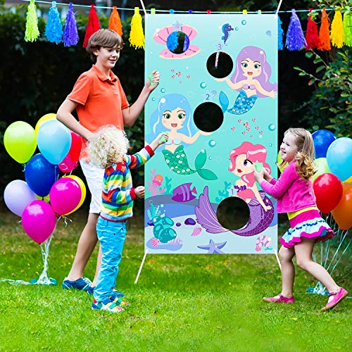 WATINCMermaidTossGameswith3BeanBags, Carnival Birthday PartyFun Game forKidsand Adults,Mermaid Banner for Ocean Theme Party Decoration, Outdoor Yard Favors and Supplies, All Ages Activity