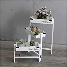 JUAN Rotary Storage Rack & Vintage Flower Stand, Solid Wood Making Strong and Beautiful for Garden Home Decoration 3 Layer...