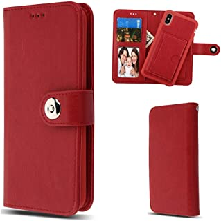 Case+Tempered_Glass, MYBAT MyJacket Purse Case Fits Apple iPhone XR / 9 Detachable Magnetic 2-in-1 Wallet Clutch Removable Snap on Back Cover Leather Folio Flip Red