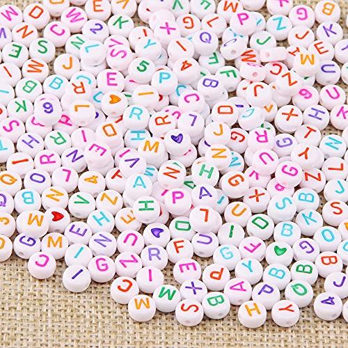 ZesNice Cuentas Collares, Cuentas Letras, Cuentas de Colores, Cuentas para Pulseras,1500 Cuentas de Letras Coloridas, Cuentas de Corazón, Cuentas de Número y Goma Elástica para Pulseras