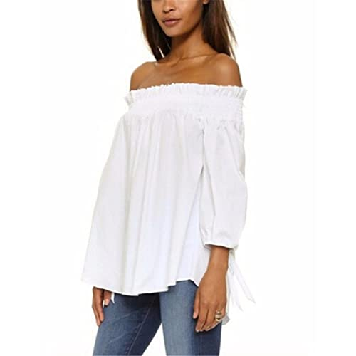 eb7a5bb2079f3d ZANZEA Women s Off Shoulder Loose 3 4 Sleeve Ruched Tie Cuff Tops Summer  Tunic Shirt