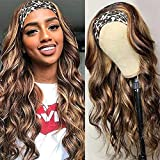 Ombre Body Wave Headband Wig Honey Blonde None Lace Front Wig for Black Women Brazilian Virgin Human Hair Machine Made Wig 150%Density (16 Inch, 180%Density)