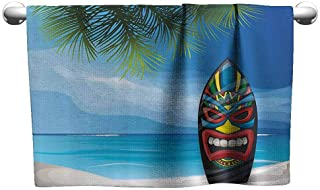 Bathroom Hand Towels Set Tiki Bar Decor Tiki Warrior Mask Design Surfboard on Ocean Beach Abstract Landscape Surf Popular Bath Sheets 23 x 8 inch Multicolor