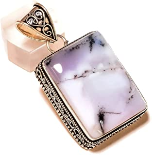 Dendritic Agate Rectangle Black and White Gemstone Silver Plated Handmade Vintage Style Pendant