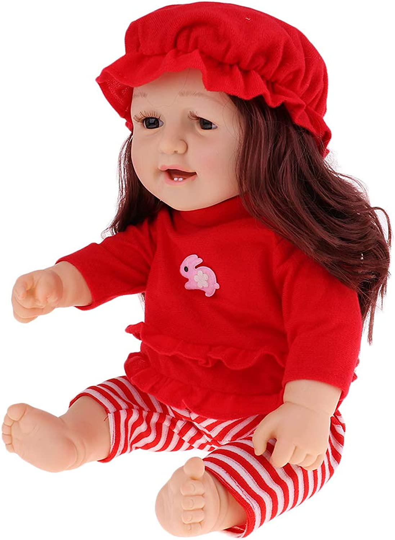 Prettyia 50cm Realistic Vinyl Baby Doll Lifelike Newborn Baby Boy Doll in Red Clothes Toy Gifts