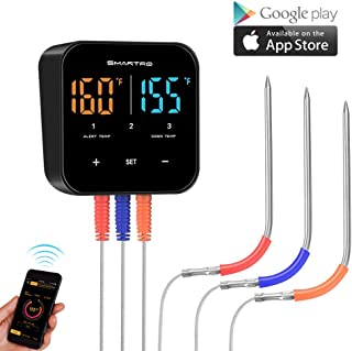 Wireless Meat Thermometer for Grilling, Bluetooth Digital Cooking Food Thermometer Instant Read with Probe for Smoker Oven Kitchen Candy BBQ Grill Thermometer Alarm Monitor Thermometers Clock Timer