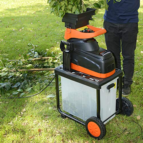 """SuperHandy Wood Chipper Silent Shredder Mulcher Ultra Quiet Electric 15AMP 1800W 120VAC 1.9"""" (48.2mm) Max Cap. 17:1 Reduction 40L Collection Bin for Fire Prevention & Firebreaks"""