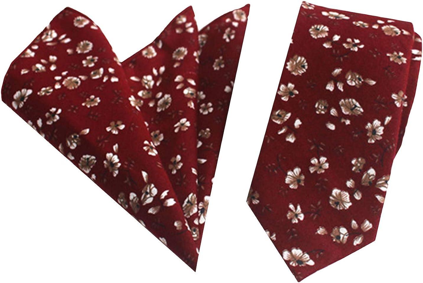 L04BABY Mens Floral Tie Handkerchief Flower Cotton Necktie and Pocket Square Set