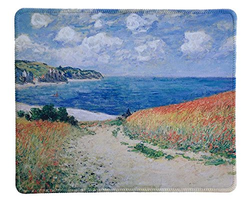 dealzEpic - Art Mousepad - Natural Rubber Mouse Pad with Famous Painting of Meadow Road to Pourville by Claude Monet - Stitched Edges - 9.5x7.9 inches