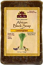 OKAY   African Black Soap with Lemongrass   For All Skin Types   Cleanses and Exfoliates   Nourishes and Heals   Free of Sulfate, Silicone & Paraben   5.5 oz