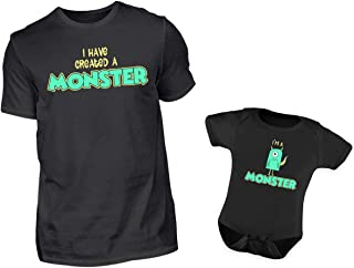 PlimPlom Vater Baby Partnerlook T-Shirt Baby Body Strampler I Have Created A Monster & I Am A Monster Rundhals Partneroutfit Set L & 6-12 Monate