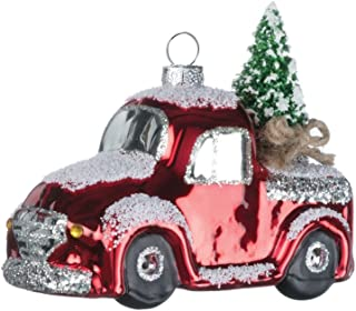 Vintage Red Truck with Christmas Tree 4 inch Snowy Glass Christmas Ornament