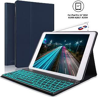 JADEMALL iPad Pro 11 Inch Keyboard Case for iPad Pro 11 2018, 【Support Pencil Charging】 iPad Pro 2018 Leather Wireless Bluetooth Keyboard, Auto Wake/Sleep, Blue